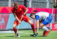 ANTWERPEN -  Scotland-England . Belfius Eurohockey Championship (men) hockey.   Sam Ward (Eng) en Timothy Atkins (Sco)  COPYRIGHT KOEN SUYK