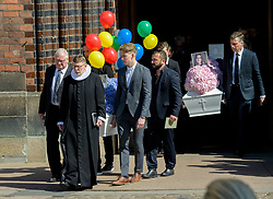 The Family Holch Povlsen had the funeral today of their three children Alma, Agnes and Alfred at Aarhus Cathedral ***SPECIAL INSTRUCTIONS*** Please pixelate children's faces before publication.***. 04 May 2019 Pictured: The coffins are carried out of close family and friends. Photo credit: Martin Hoien/Aller/MEGA TheMegaAgency.com +1 888 505 6342