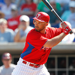 February 24, 2011; Clearwater, FL, USA; Philadelphia Phillies left fielder Raul Ibanez (29) during a spring training exhibition game against the Florida State Seminoles at Bright House Networks Field. Mandatory Credit: Derick E. Hingle