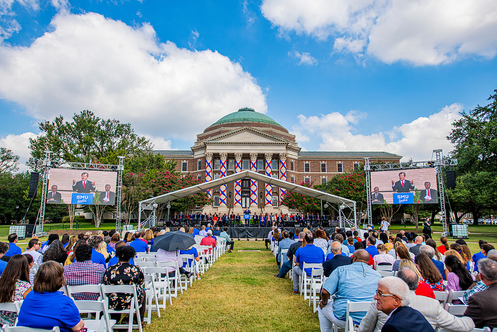 SMU administration, executive board and guests attend the SMU Ignited Campaign Kickoff Ceremony and Picnic on the Main Quadrangle in front of Dallas Hall, Friday, September 17, 2021 on the SMU Campus.