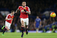 Memphis Depay of Manchester United in action. Barclays Premier league match, Chelsea v Manchester Utd at Stamford Bridge in London on Sunday 7th February 2016.<br /> pic by John Patrick Fletcher, Andrew Orchard sports photography.