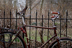 Bike looked to a fence at Rittenhouse Square, in Philadelphia, PA on March 13, 2018.
