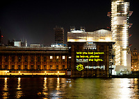 A message projected onto the Elizabeth Tower section of the Westminster Palace / Houses of Parliament reading ''WILL THE LAST PERSON TO LEAVE, PLEASE TURN OUT THE LIGHTS', akin to the well-known Sun headline from the 1992 general election.