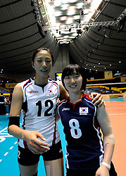 07-11-2010 VOLLEYBAL: WORLD CHAMPIONSHIP: PERU - KOREA: TOKYO<br /> Korea beat Peru with 3-1 / Jie-Youn Nam and Song-Yi Han<br /> ©2010-WWW.FOTOHOOGENDOORN.NL