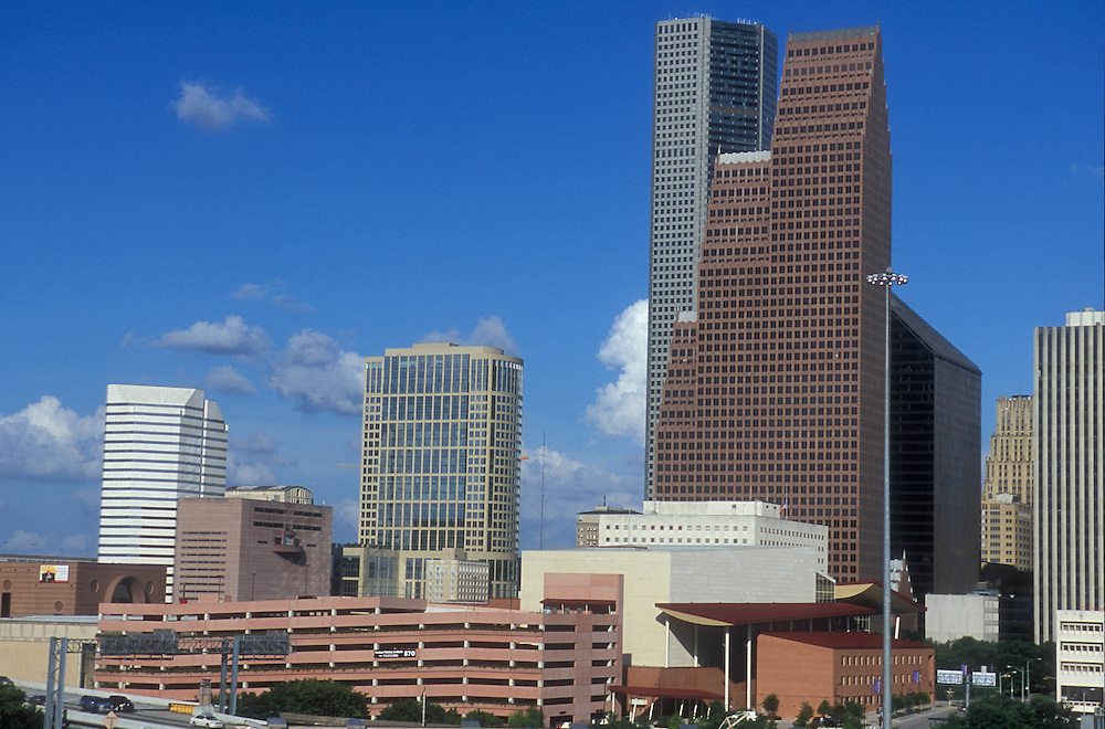 Southern daytime view of downtown Houston, Texas.