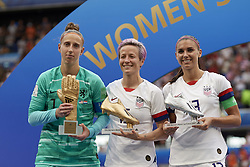 July 7, 2019 - Lyon, France - Sari Van Veenendaal golden gloves, Megan Rapinoe golden boot and Alex Morgan silver boot during the 2019 FIFA Women's World Cup France Final match between The United State of America and The Netherlands at Stade de Lyon on July 7, 2019 in Lyon, France. (Credit Image: © Jose Breton/NurPhoto via ZUMA Press)