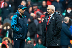 Head Coach Warren Gatland of Wales during the pre match warm up Head Coach Joe Schmidt of Ireland<br /> <br /> Photographer Simon King/Replay Images<br /> <br /> Six Nations Round 5 - Wales v Ireland - Saturday 16th March 2019 - Principality Stadium - Cardiff<br /> <br /> World Copyright © Replay Images . All rights reserved. info@replayimages.co.uk - http://replayimages.co.uk