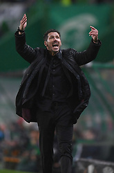 LISBON, April 13, 2018  Head coach of Atletico Diego Simeone reacts during the Europa League quarterfinal second leg soccer match between Sporting CP and Club Atletico de Madrid at the Jose Alvalade stadium in Lisbon, Portugal, on April 12, 2018. Sporting won 1-0 but was eliminated by a 1-2 on aggregate. (Credit Image: © Zhang Liyun/Xinhua via ZUMA Wire)