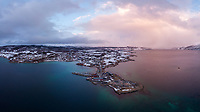 Luftfoto som viser mye av Evenskjer i Skånland, Tjeldsund kommune.
