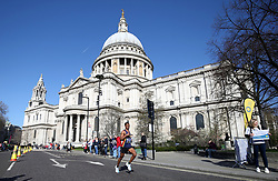 Competitiors pass St. Paul's cathedral during the 2019 London Landmarks Half Marathon.