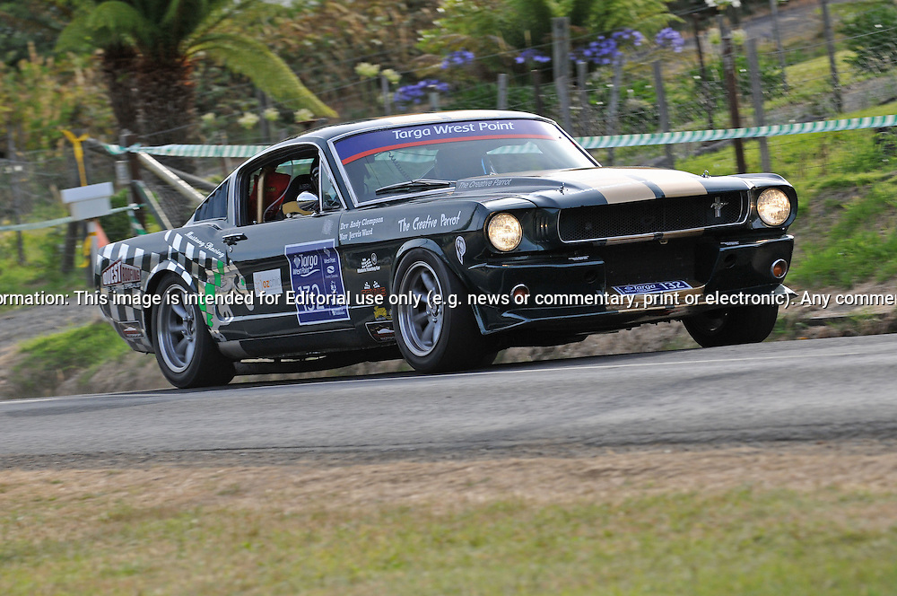 132 Andy Clempson & Jervis Ward..1965 Ford Mustang.Day 1.Targa Wrest Point 2010.Southern Tasmania.30th of January 2010.(C) Joel Strickland Photographics.Use information: This image is intended for Editorial use only (e.g. news or commentary, print or electronic). Any commercial or promotional use requires additional clearance.