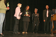 January 21, 2008 - Santa Barbara, CA: Martin Luther King Day Pre -march Rally, March and Celebration and Post-Rally Reception.? 9 a.m. Pre-March Rally at Santa Barbara High School.700 E. Anapamu Street. The ideals of Dr. King was expressed in circles of Peace, Equality, Spirituality and Love.? 10 a.m. March in Unity .We remembered the marches that Dr. King lead. Participants began the march at Santa Barbara High School and walked down Milpas Street to Santa Barbara Jr. High School..? 11 a.m. Celebration at the Marjorie Luke Theatre.721 E. Cota Street.  .(l-r) Unknown Person, Sojourner Kincaid Rolle, Clevonease Johnson and Master of Ceremonies Derrick Curtis, Brotherhood of Santa Barbara..The community came to enjoy the music, children?s essay competition winners, speakers and celebrations. .- Post-Rally Reception at the First United Methodist Church, 305 East Anapamu Street.  Fellowship, conversation and refreshments..(Photo by Rod Rolle)