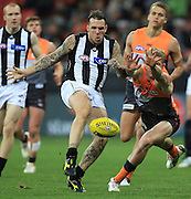 Dane Swan of the Magpies kicks during the AFL Round 18 match between the GWS Giants and the Collingwood Magpies at Skoda Stadium, Sydney. (Photo: Craig Golding/AFL Media)