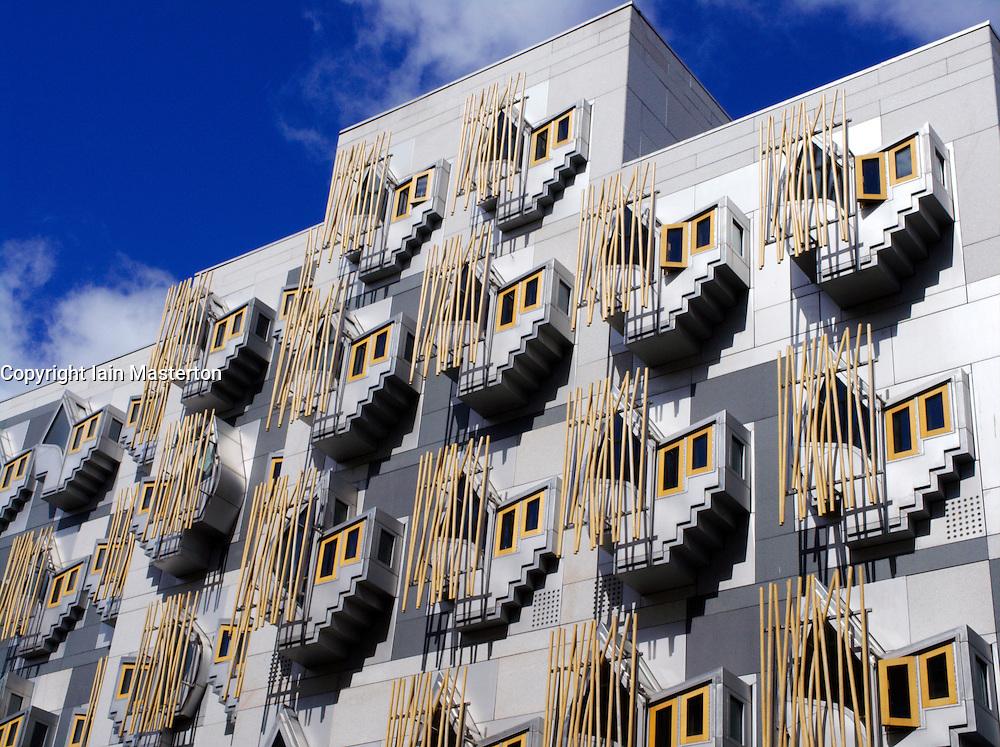Modern architecture of new Scottish Parliament building in Edinburgh Scotland