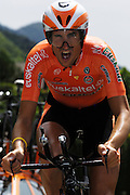 France, Talloire, 23 July 2009: Juan Jose Oroz Ugalde (Spa) Euskaltel - Euskadi on the Côte de Bluffy during Stage 18 - a 40.5 km Annecy to Annecy individual time trial. Photo by Peter Horrell / http://peterhorrell.com .