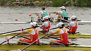 Poznan, POLAND.  2006, FISA, Rowing World Cup the IRL LW2X  left, Niamh NI CHEILLEACHAIR and Sinead JENNINGS,  sculling into  the  bronze medal slot, on the  'Malta Regatta course;  Poznan POLAND, Sat. 17.06.2006. © Peter Spurrier   ....[Mandatory Credit Peter Spurrier/ Intersport Images] Rowing Course:Malta Rowing Course, Poznan, POLAND