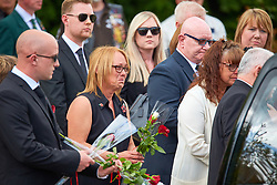 © Licensed to London News Pictures. 10/05/2018. CARTERTON, UK.  Friends, family and colleagues pay their respects during the repatriation ceremony for RAF Corporal Steven Wainwright who died on Tuesday 1 May after being involved in a road traffic collision on the Akrotiri Sovereign Base Area in Cyprus. The incident is under investigation. Photo credit: Cliff Hide/LNP