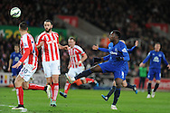 Romelu Lukaku of Everton © has a shot. Barclays Premier League match, Stoke city v Everton at the Britannia Stadium in Stoke on Trent , Staffs on Wed 4th March 2015.<br /> pic by Andrew Orchard, Andrew Orchard sports photography.