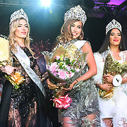 Julia Sinitsina (2nd) Anhelina Chabanian (1st) and Laura Mukhtar (3rd)winner of Miss USSR UK 2019 2019 at Hilton Hotel Park Lane on 27 April 2019, London, UK.