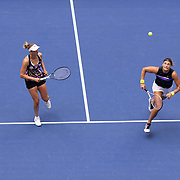 2019 US Open Tennis Tournament- Day Fourteen.  Elise Mertens of Belgium and Aryna Sabalenka of Belarus in action during their victory against Victoria  Azarenka of Belarus and Ashleigh Barty of Australia in the Women's Doubles Final on Arthur Ashe Stadium during the 2019 US Open Tennis Tournament at the USTA Billie Jean King National Tennis Center on September 8th, 2019 in Flushing, Queens, New York City.  (Photo by Tim Clayton/Corbis via Getty Images)