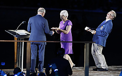 The Prince of Wales speaks with Louise Martin, president of the Commonwealth Games Federation, during the Opening Ceremony for the 2018 Commonwealth Games at the Carrara Stadium in the Gold Coast, Australia.