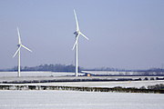 Fresh snow fall around the BurtonWold Windfarm, off the A6 near Burton Latimer in Northamptonshire