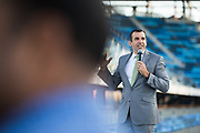 San Jose Mayor Sam Liccardo delivers a speech during the Silicon Valley Business Journal 40 Under 40 event at Avaya Stadium in San Jose, California, on July 31, 2018. (Stan Olszewski for Silicon Valley Business Journal)