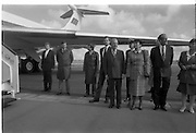 Mikhail Gorbachev Visits Ireland.  (R99)..1989..02.04.1989..04.02.1989..2nd April 1989..As part of a European tour Russian President,Mikhail Gorbachev visited Ireland today. As the architect of 'Glasnost' ,a softening of Russian opression,he was warmly welcomed on his arrival at Shannon Airport...Picture shows An Taoiseach, Charles Haughey TD, his wife Maureen and Tanaiste, Brian Lenihan TD lead the welcoming committee on the tarmac at Shannon Airport.