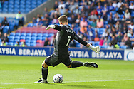 Cardiff City goalkeeper Dillon Phillips (1) takes a goal kick during the EFL Sky Bet Championship match between Cardiff City and Bristol City at the Cardiff City Stadium, Cardiff, Wales on 28 August 2021.