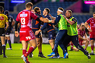 Mark Bennett (#13) of Edinburgh Rugby is congratulated by team mates after he scores Edinburgh's fourth try during the Guinness Pro 14 2019_20 match between Edinburgh Rugby and Scarlets at BT Murrayfield Stadium, Edinburgh, Scotland on 26 October 2019.
