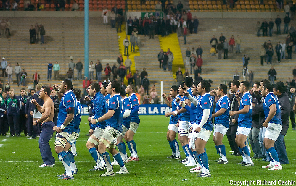 Brian Lima leads his last haka for Samoa the 2007 Rugby World Cup pool game between Samoa and USA at Stade Geoffroy-Guichard in Saint-Étienne, France