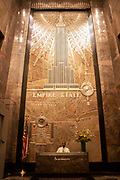 Entrance foyer to the Empire State Building, one of Manhattans most famour skyscrapers on 24th May 2007 in New York City, United States. This Art Deco classic is resplendent in grand gold design.