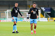 Luke Hallett (29) of Forest Green Rovers and Mathew Stevens (9) of Forest Green Rovers warming up ahead of the Pre-Season Friendly match between Yeovil Town and Forest Green Rovers at Huish Park, Yeovil, England on 31 July 2021.