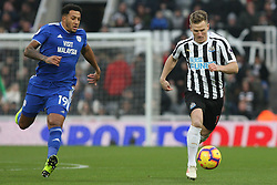 January 19, 2019 - Newcastle, England, United Kingdom - Newcastle United's Matt Ritchie  contests for the ball with Cardiff City's Nathaniel Mendez-Laing during the Premier League match between Newcastle United and Cardiff City at St. James's Park, Newcastle on Saturday 19th January 2019. (Credit Image: © Mark Fletcher/NurPhoto via ZUMA Press)