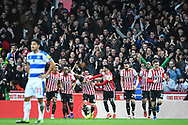 Brentford Forward Neal Maupay (9) celebrates scoring a goal (1-0) during the EFL Sky Bet Championship match between Brentford and Queens Park Rangers at Griffin Park, London, England on 2 March 2019.