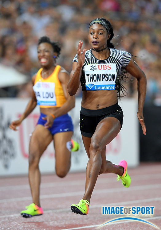 Aug 25, 2016; Lausanne, Switzerland; Elaine Thompson (JAM) wins the women's 100m in 10.78 during the 2016 Athletissima in an IAAF Diamond League meeting at Stade Olympique de la Pontaise. Photo by Jiro Mochizuki