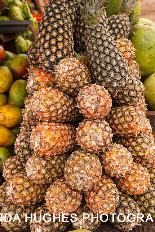Fresh Pineapples at an Outdoor Market in Accra Ghana