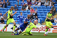 Frederic Gounongbe © is fouled in the box by Reading's Paul McShane (5) but no penalty is awarded . EFL Skybet championship match, Cardiff city v Reading at the Cardiff city stadium in Cardiff, South Wales on Saturday 27th August 2016.<br /> pic by Andrew Orchard, Andrew Orchard sports photography.
