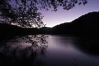 After sunset on Galovac lake, upper Lakes, Plitvice National Park, Croatia