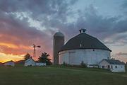 Sundown, Liskar Round Barn Near Hillsboro, Wisconsin, Stormy Sky, Cloudy Sky, Midwest farms, Heartland America