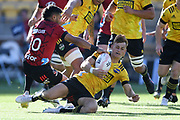 Hurricanes Ruben Love beats Crusaders Richie Mo'unga to the ball in the Super Rugby match, Hurricanes v Crusaders, Sky Stadium, Wellington, Sunday, April 11, 2021. Copyright photo: Kerry Marshall / www.photosport.nz