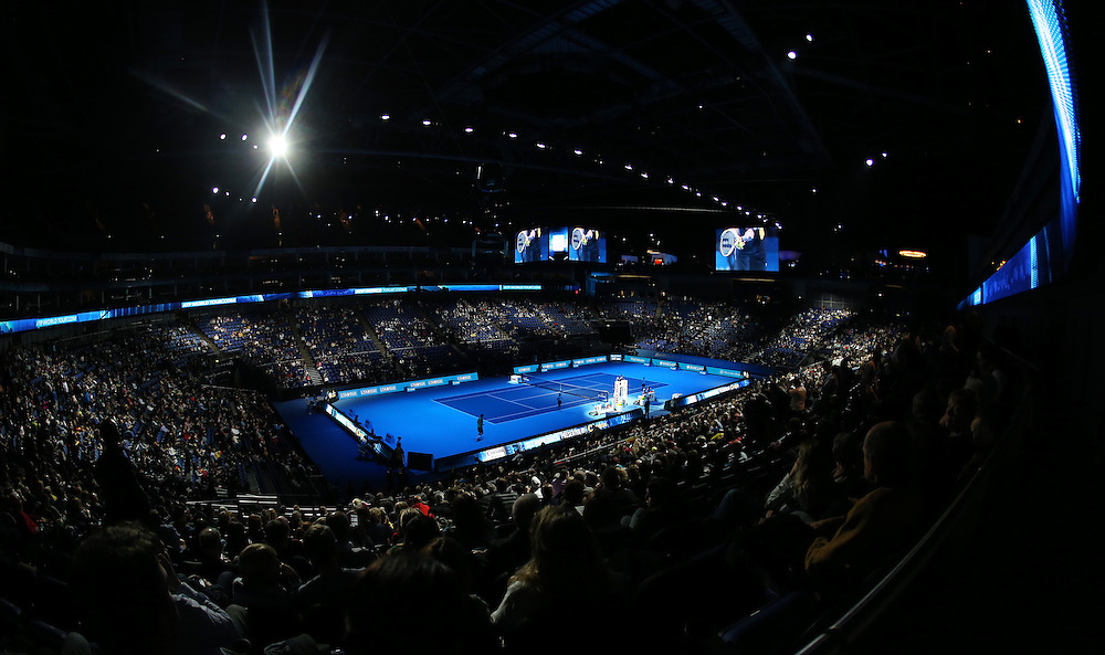 A general view of the O2 Arena<br /> <br /> Photo by Rob Newell/CameraSport<br /> <br /> International Tennis - Barclays ATP World Tour Finals - O2 Arena - London - Day 8 -  Monday 11th November 2013<br /> <br /> © CameraSport - 43 Linden Ave. Countesthorpe. Leicester. England. LE8 5PG - Tel: +44 (0) 116 277 4147 - admin@camerasport.com - www.camerasport.com