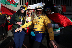 General view of fans arriving to the ground before the Guinness Six Nations match at the Principality Stadium, Cardiff.