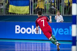 Bruni Coelho of Portugal celebrates goal during futsal match between National teams of Ukraine and Portugal at Day 6 of UEFA Futsal EURO 2018, on February 4, 2018 in Arena Stozice, Ljubljana, Slovenia. Photo by Urban Urbanc / Sportida