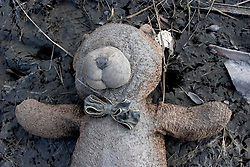 30 Sept, 2005.  New Orleans, Louisiana. Lower 9th ward. Hurricane Katrina aftermath. <br /> The remnants of the lives of ordinary folks, now covered in mud as the flood waters remain.  A child's teddy bear lies discarded in the mud.<br /> Photo; ©Charlie Varley/varleypix.com