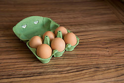 Close-up of eggs tray on table, Munich, Bavaria, Germany