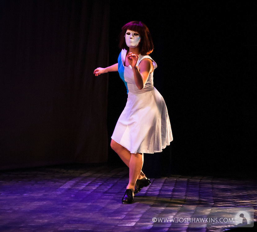 """""""Eyes Without a Face"""", a tap dance thriller inspired by the french film """"Les Yeux San Visage"""" featuring live narration by Marc Kelly Smith and an original score by Andrew Edwards at Stage 773 in Chicago, by Chicago Tap Theatre.."""
