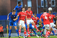 Kgosi Nthle heads at goal during the EFL Sky Bet League 1 match between Rochdale and Barnsley at Spotland, Rochdale, England on 21 August 2018.