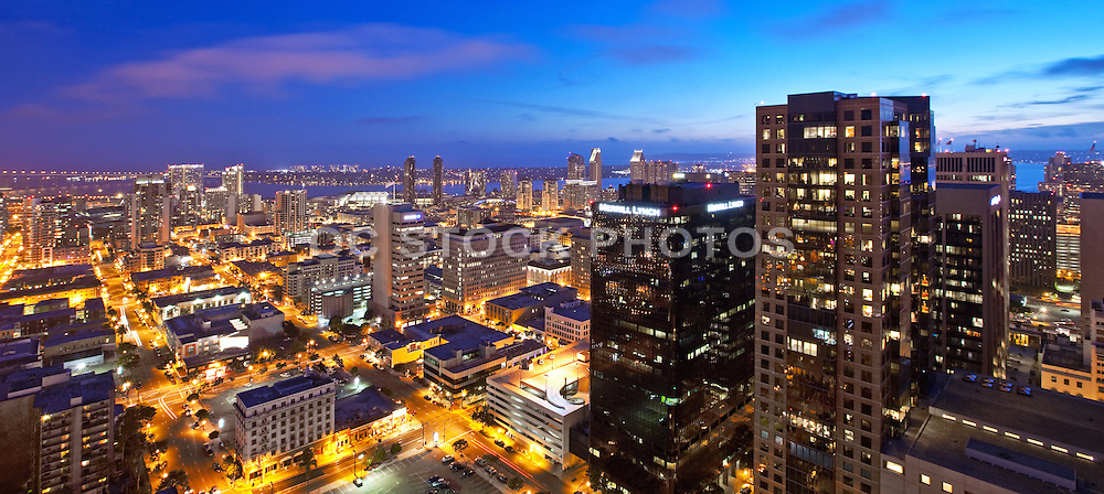 San Diego Skyline Aerial at Dusk