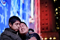 November 9, 2016 - New York, New York, U.S. - People express their emotions in the streets as Donald Trump wins the US presidential election. (Credit Image: © Aftonbladet/IBL via ZUMA Wire)